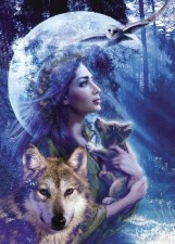 Art Lady whith wolf and cup Wallpaper__yvt2